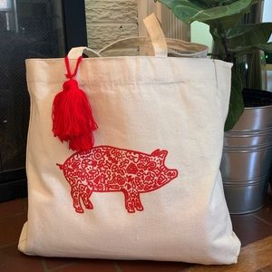 Handbags - Original handmade lucky pig canvas tote bag